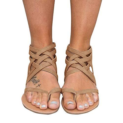 Blivener Women's Casual Gladiator Sandals Summer Zipper Strappy Thong Flats Shoes KHAKI42 (10) ()