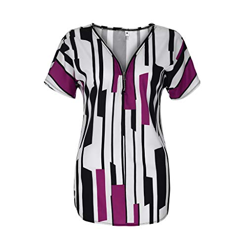 NCCIYAZ Womens Tunic Top Striped Colour Block T-Shirt Short Sleeve Plus Size Ladies Half-Zip Tee Oversized(3XL(14),Purple)