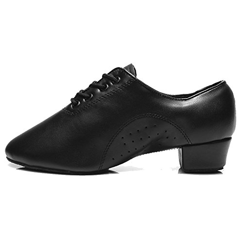 Image of HROYL Little Boy/Big Kids/Men Dance Shoes Leather lace-up Ballroom Shoes for Latin Tango Salsa Dance Performence Shoes Black 7.5 (M) US Big Kid