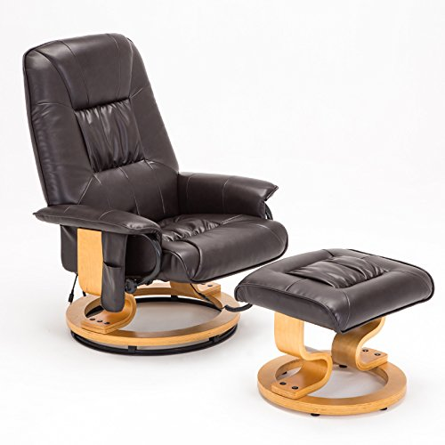 Mecor Recliner Chair and Ottoman, Leather Leisure Massage Chair Living Room Swivel Armchair (Brown)