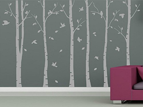 beautymake DIY 6pcs Oversized Birch Tree Wall Decal Nursery Removable PVC Tree Wall Decals for Living Room Wall Stickers Murals Wallpaper 94.5x59.1,Grey
