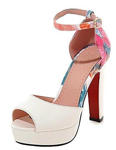 Scarpe Sandali Con Plateau Donna Easyemax Elegante Bianco