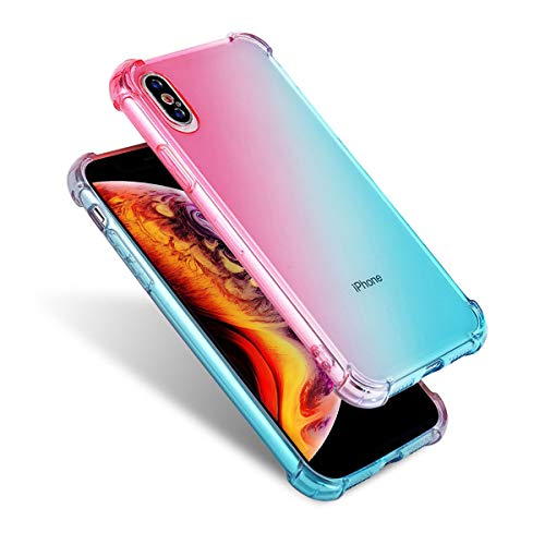 Price comparison product image Airror Phone Case Compatible iPhone Xs iPhone X,  Clear Multi-Color Gradients Slim Case,  Impact Resistant Protective Flexible Soft TPU Cover [ Support Wireless Charging ] - Blue & Pink