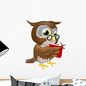 Wallmonkeys Cartoon Owl Reading Book Wall Decal Peel and Stick Graphic (18 in H x 15 in W) WM247426