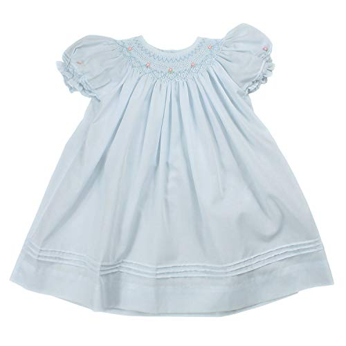 Petit Ami Baby Girls' Daygown with Heart Smocking and Pearls, 9 Months, Blue
