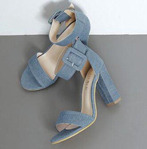 Easemax Womens Trendy Canvas Enkel Gesp Open Teen Hoge Dikke Hak Sandalen Blauw