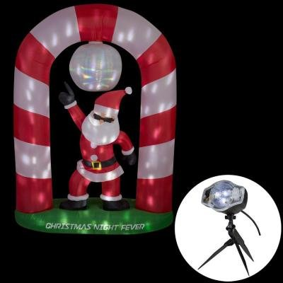 69.69 in. W x 27.56 in. D x 96.06 in. H Lighted Animated Inflatable Disco Santa Scene (POL)