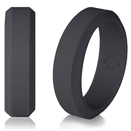 Dark Grey Silicone Wedding Ring Band for Men and Women - Size 11 Superior 6mm Rubber Rings - Premium Quality, Style, Safety, Comfort - Ideal Bands for Gym, Safe for Work, Hunting, Sports, and Travels -
