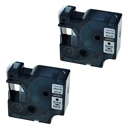 - SuperInk 2 PK Black on White Compatible for DYMO D1 45803 Label Tape LabelPoint 300 350
