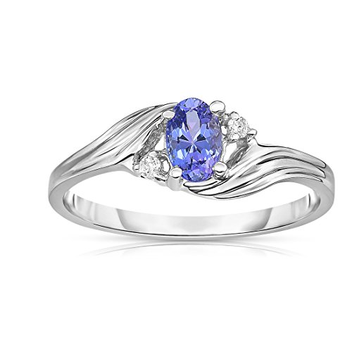 14k Gold Oval Design (Noray Designs 14K White Gold Oval Tanzanite & Diamond (0.03 Ct, G-H Color, SI2-I1 Clarity) Ring)