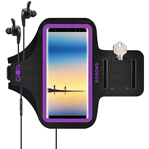 SOSONS Galaxy Note 9/Note 8/S8 Plus Armband, Water Resistant Sports Gym Armband Case for Samsung Galaxy Note 9/Note 8/S8 Plus,with Card Pockets and Key Slot,Fits Smartphones with Slim Case-Purple
