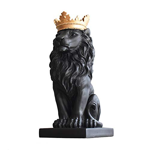 Lion Ornaments Living Room Wine Cabinet Tv Cabinet Office Desk Artwork,Black