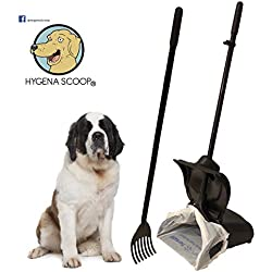 Hygena Scoop Odor Blocking Swivel Bin & Long Handle Rake Large Pooper Scooper for Clean Pet Waste Removal