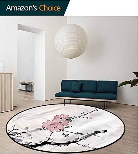 RUGSMAT Japanese Carpet Gray Round Area Rug,Asian Watercolor Art Non-Slip Bathroom Soft Floor Mat Home Decor Diameter-47