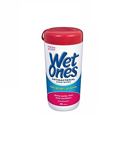 Wet Ones Antibacterial Hands & Face Wipes Fresh Scent 40 Count Canister (Pack of 4) ()