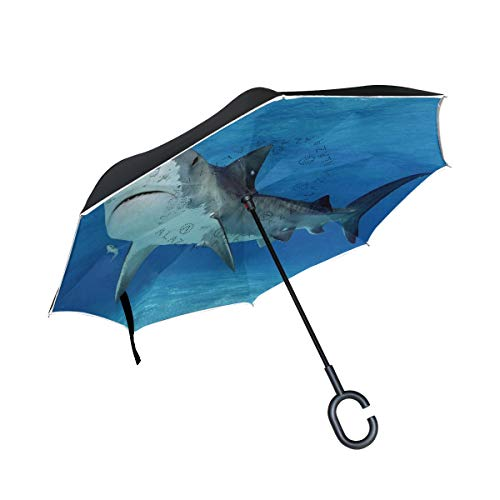 Tiger Shark Fiberglass - Inverted Umbrella Tiger Shark Double Layer Reverse Umbrella for Car Windproof UV Protection Big Straight with C-Shaped Handle