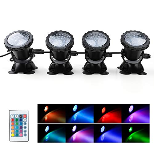 MUCH Underwater Pond Light Remote Control Waterproof IP 68 Submersible Spotlight with 36 LED Bulbs 7.5 W Multi-Color Spot Light for Aquarium Garden Pond Aquarium Tank Fountain Waterfall (Set of 4)