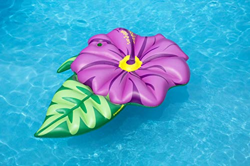 Swimline Hibiscus Flower Float Pool Inflatable Ride-On, Pink, Green