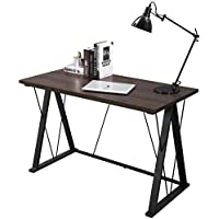 SONGMICS Computer Desk Home Office Study Modern Writing Table Walnut with Black Legs ULWD13S
