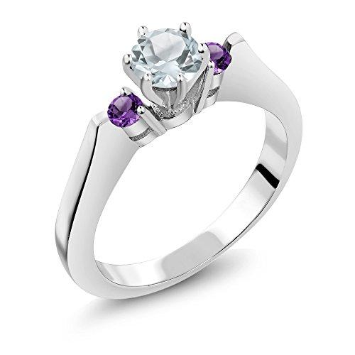 0.57 Ct Round Sky Blue Aquamarine Purple Amethyst 925 Silver 3-Stone (Aquamarine Round Ring)