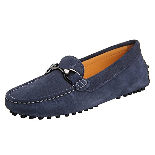 Shenduo Women's Slip on Moccasins Boat Flats Driving Shoes Suede Leather Loafers D7062 Grey