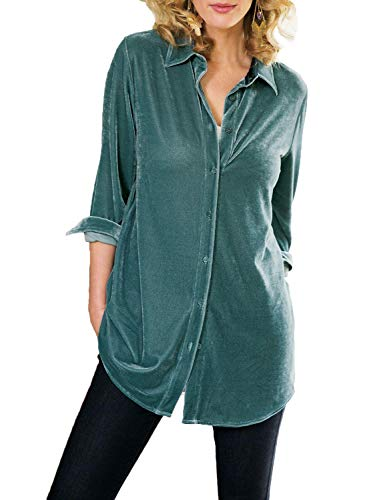(Azokoe Womens Fashion Velvet V Neck Top Long Sleeves Casual Shirt Solid Printed Button Down Blouse Tunic for Women Green Size 8 10)