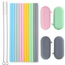"Sunseeke Silicone Straws Set - Odorless, 12 Standard Reusable Drinking Straws, 4 Carry Pouch, 2 Cleaning Brushes, FDA Certificated Food Grade Platinum Silicone - 8 1/2"" Long"