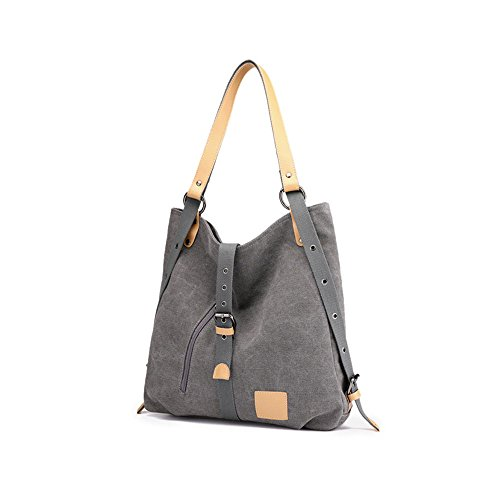 Mufly Multifunctional Casual Canvas Backpack For Women Large Capacity Grey
