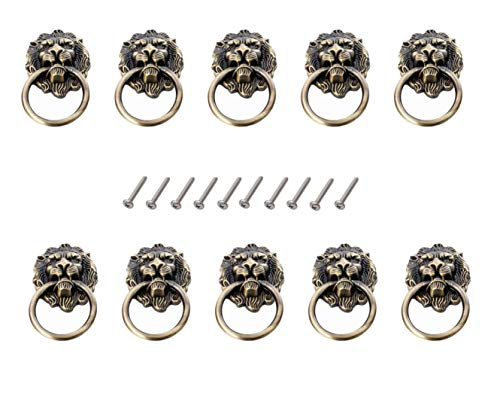 Karcy 10pcs Zinc Alloy Lion Head Knob Pull Handle Door Hardware for Cabinet Dresser Drawer (Antique Bronze) ()
