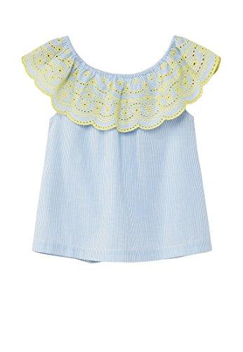 MANGO Kids Openwork Ruffle Blouse, Blue, 7-8 Years (Embroidery Swi)