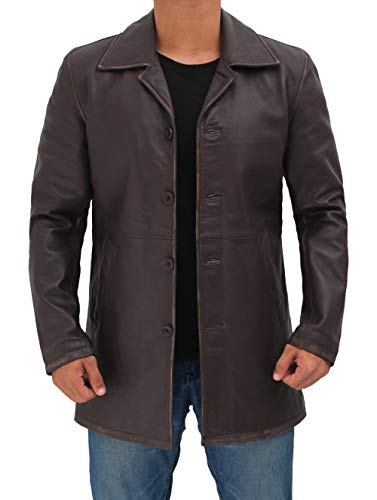 Decrum Distressed Brown Leather Jacket Men - Lambskin Leather Jackets | [1500037] Super Rub, XXXL