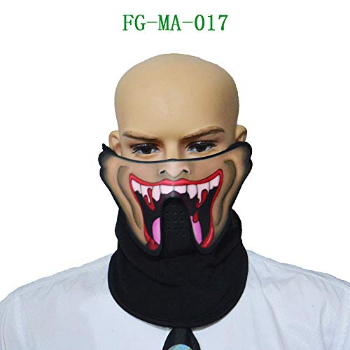 (AKwell Devil Sound Reactive Half Face LED Light Up Mask Halloween Cosplay Led Costume)
