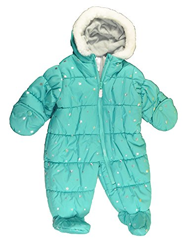 Carter's baby Girls Light Green Sparkly Star One Piece Snow Suit (6/9M)