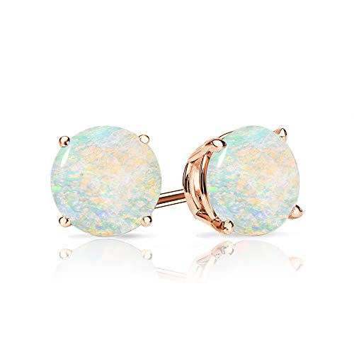 9mm Created Opal Stud Earrings in 14k Rose Gold (2.5 CT.TW.)