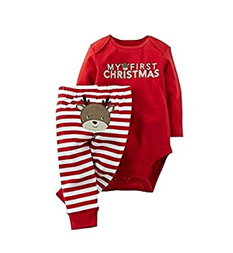 0e2e32c0cc3a8 Foopp nouveau-né bébé fille garçon Grenouillère Body et pantalon première  de Noël de cadeaux