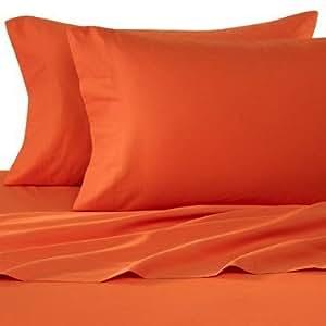 1500 thread count egyptian quality bed sheet set queen hunter orange deep pocket 4pc. Black Bedroom Furniture Sets. Home Design Ideas