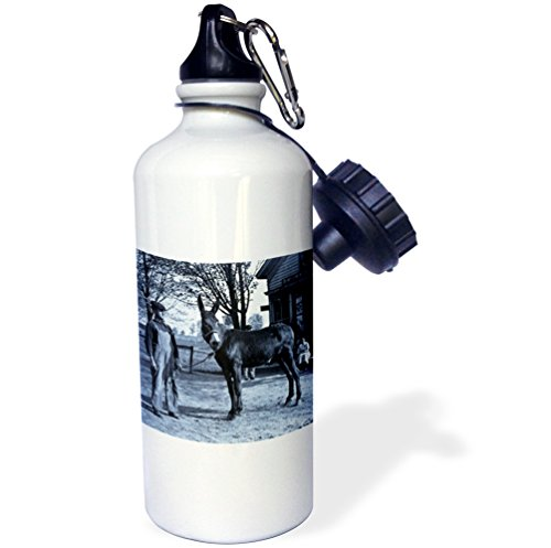 "3dRose wb_16066_1 ""1901 Man and a Mule in Milwaukee Cyan"" Sports Water Bottle, 21 oz, White"