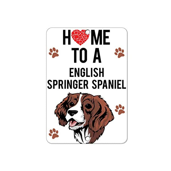 Aluminum Metal Sign Funny Home to English Springer Spaniel Dog Informative Novelty Wall Art Vertical 12INx18IN 1