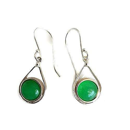 7f0c5b03c Amazon.com: Sterling Silver Jade Earrings, Green Earrings, Silver Drop  Earrings, Gift for her: Handmade
