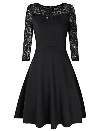 Lace Lined Little Black Dress - Women A Line Cocktail Dress Empire Lace Wedding Guest Dress Black L