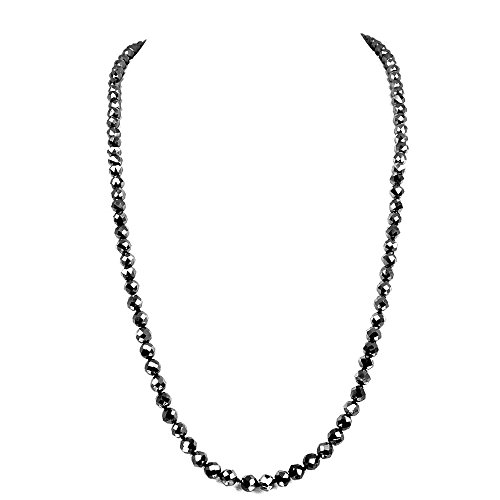 skyjewels Beautiful 28 inches 5.00 mm Black Diamond Faceted Beads Necklace With Designer Gemstone Clasp (Gemstone Clasps)
