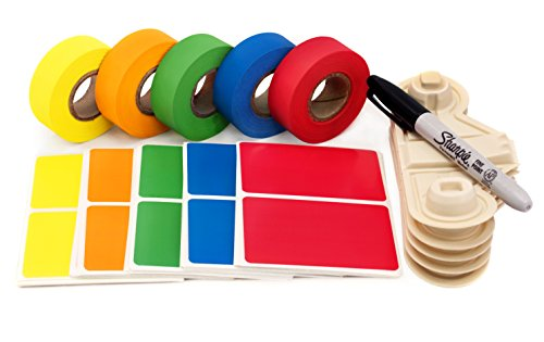 Home Moving Buddy Kit: Matching Tape & Label Color Coding Pack | 150 Labels, 5 Rolls of Matching, Clean-Remove Tape w/ Dispensers, Permanent Marker - Language Proof Your Move! (Label Dispenser Kit)