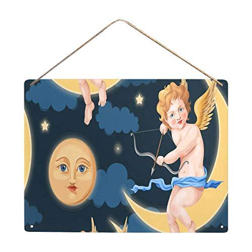 InterestPrint Cute Angel Moon Stars Clouds Night Decorative Metal Plaque 16x12 - Angel Plaque Night