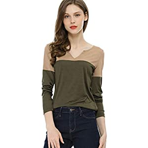 Allegra K Women's Henley Split V-Neck Tops Long Sleeve Color Block T-Shirt