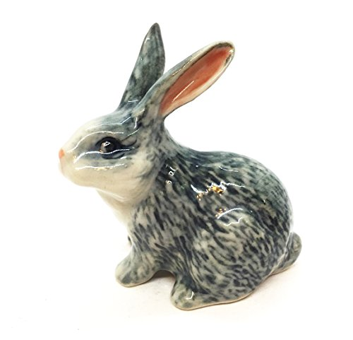 WitnyStore Ceramic Rabbit Miniature Siamese Hare Figurine Wildlife Collectibles Pet Animals