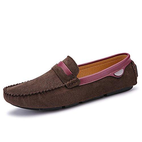 Zapatos de Piel de Becerro de Verano para Hombres Zapatos de tacón Plano Casual Marrón