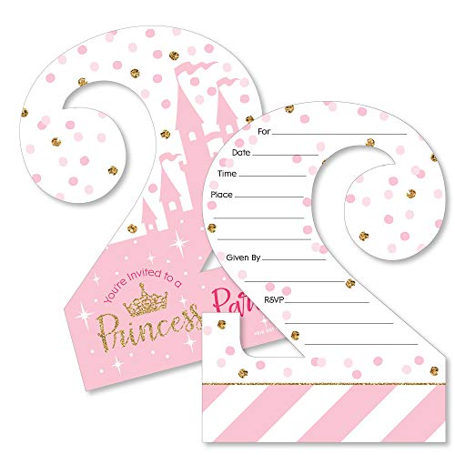 (2nd Birthday Little Princess Crown - Shaped Fill-in Invitations - Pink and Gold Princess Second Birthday Party Invitation Cards with Envelopes - Set of 12)
