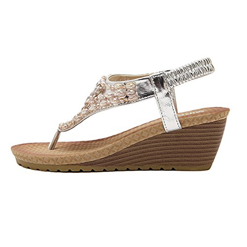 DolphinBanana DophinGirl Summer Women Wedge Sandals Comfy Rhinestone String Comfy Thong T-Strap Shoes Prime JX00003 Silver GbdYcaZW