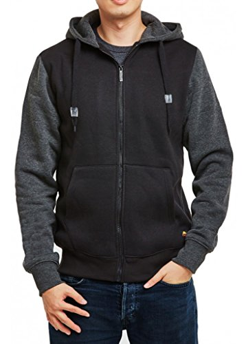 - Men's Two Tone Full Zip Hoodie Jacket with Pockets-BLK/CGR-XL