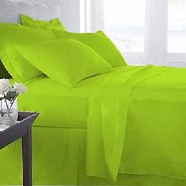 1200 Thread Count Solid Pattern 6- Piece Bedding Sheet Set Upto 24 inches Deep Pocket 100% Egyptian Cotton All Sizes & Colors ( King , Parrot Green )